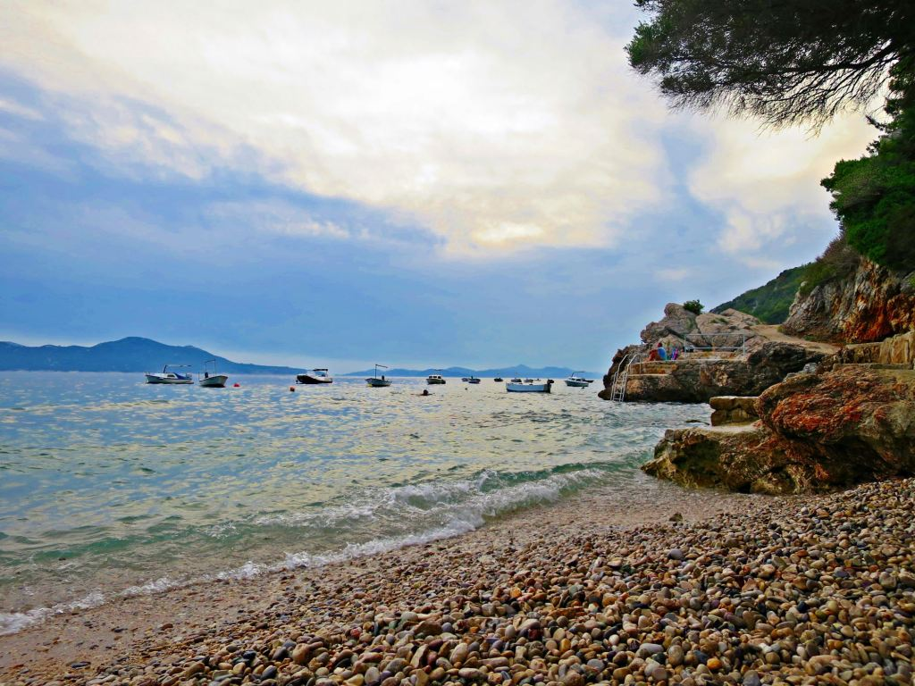 Pebble beach in Orasac, Croatia