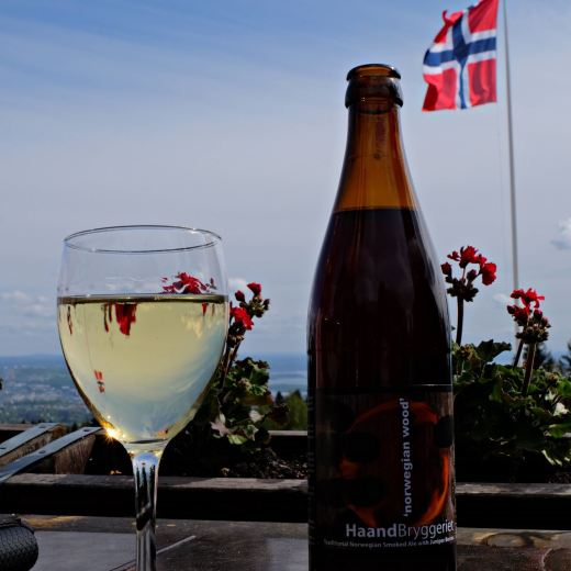 Norwegian Flag wine and beer with view