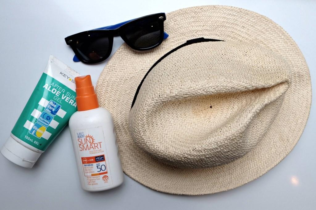 Suncream hat sunglasses