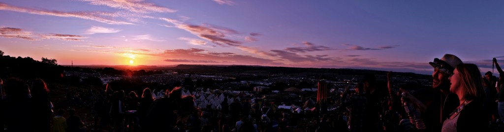 Glastonbury 2016 23 June Thursday evening sunset over Glastonbury panorama WS