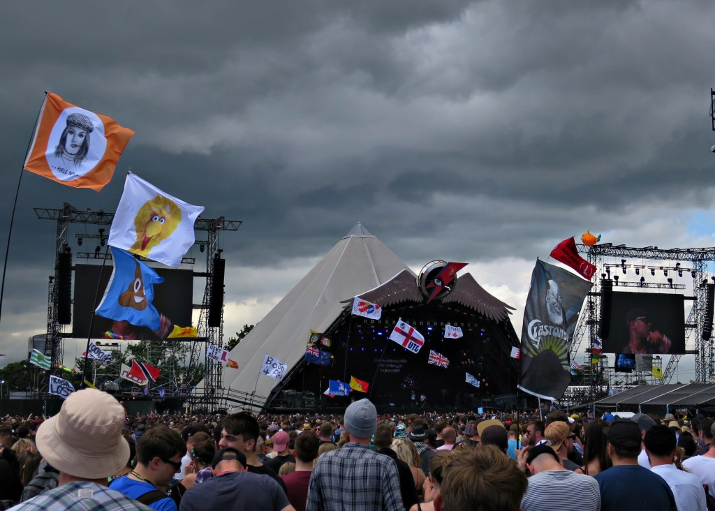 Glastonbury 2016 24 June Friday afternoon 2pm Skepta storm clouds WS