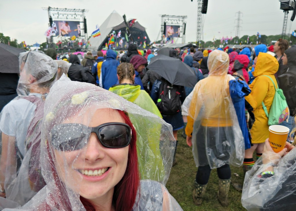 Glastonbury 2016 24 June Friday afternoon 3pm Rain at Two Door Cinema Club WS