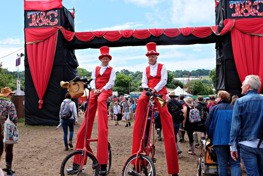 Glastonbury 2016 25 June Saturday day Theatre & Circus field tall guys WS