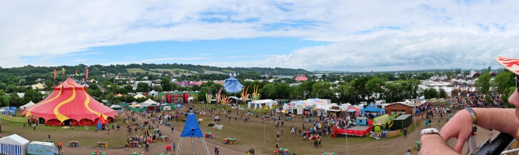 Glastonbury 2016 25 June Saturday day Tor View Lookout WS