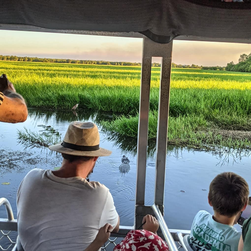A family watch a partially submerged crocodile stalking a water bird in the reeds on the Yellow River Cruise in Kakadu National Park