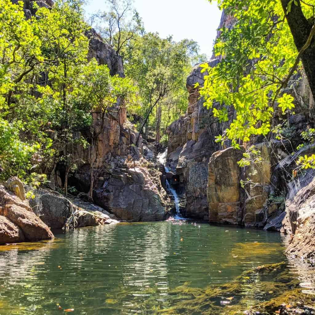 A secluded waterfall and billabong surrounded by trees in Kakadu National Park. The water is crystal clear and inviting.