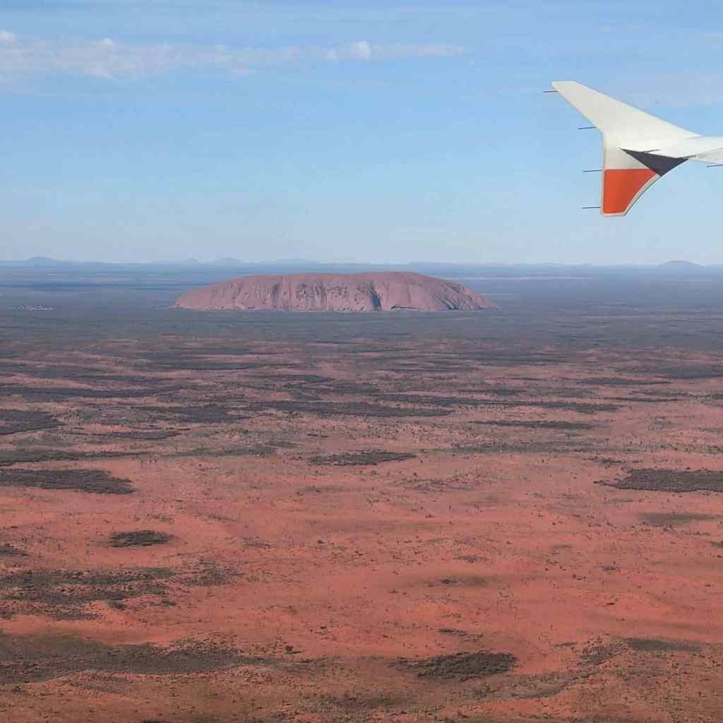 NT holiday Uluru from the plane