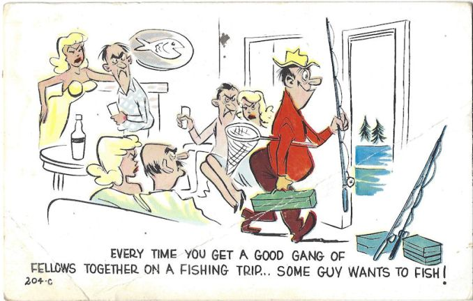 Fishing with angry Swedes - Cartoon postcard