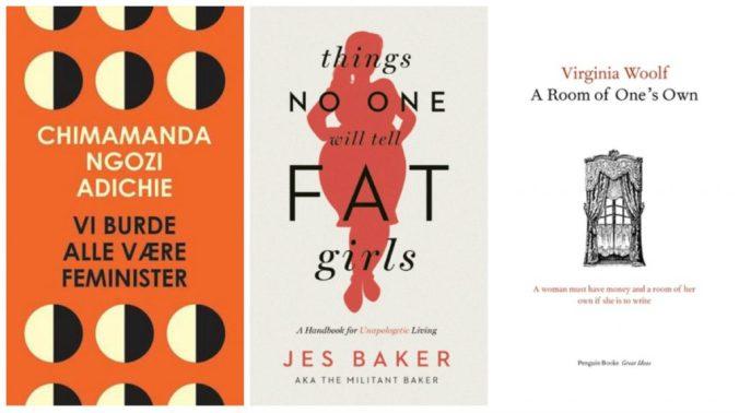 bilder av forsidem til vi burde alle være feminister, things no one will tell fat girls og a room of ones own