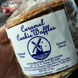 Caramel Cookie WAFFLES, from right in our neighborhood. Try them, they are delicious!