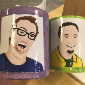 Jenn's highly detailed photo-realistic portraits on the mugs.