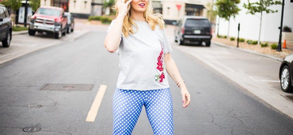 never skip brunch line | fun leggings | cute lettings | polka dot leggings | never skip brunch apparel line | apparel line launch
