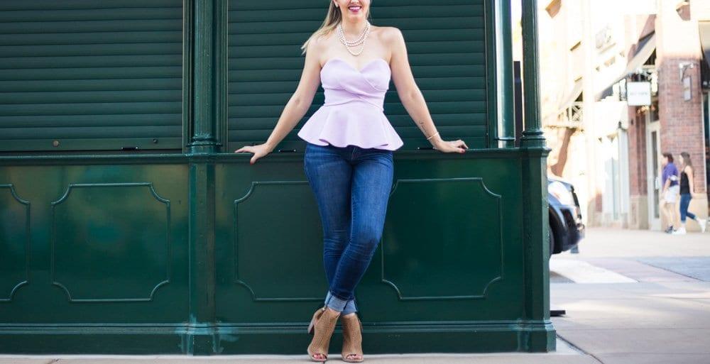 peplum top | toms shoes | casual chic look | denim & block heels | lavender top |  sweetheart neckline | nordstrom sale