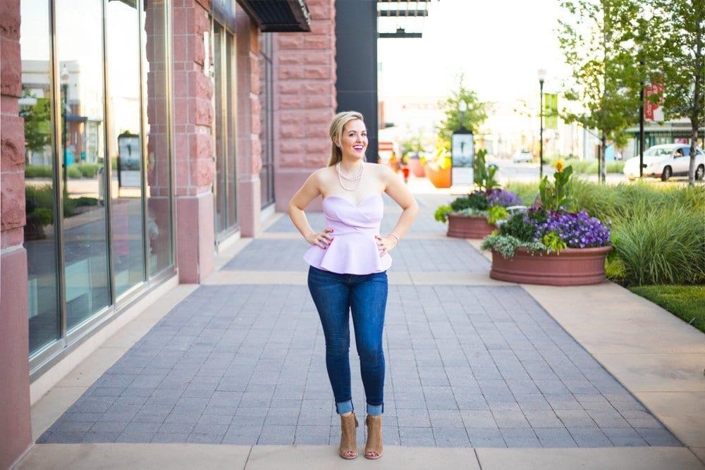 peplum top | toms shoes | casual chic look | denim & block heels | lavender top | pearl necklace | sweetheart neckline | nordstrom sale