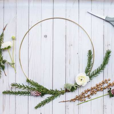 DIY Holiday Wreath: How to make a Gold Hoop Christmas Wreath