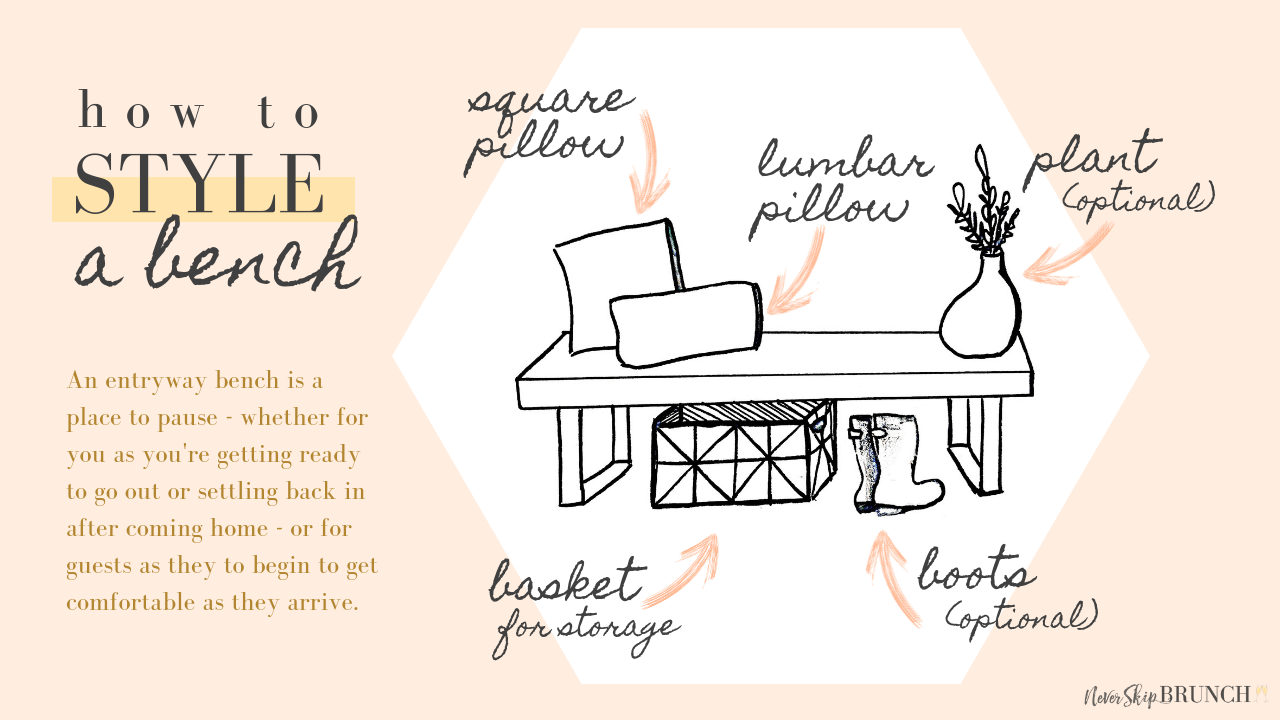 How to style and entryway bench | entryway bench diy small | entryway bench decor | entryway bench ideas | never skip brunch by cara newhart #decor #home #DIY