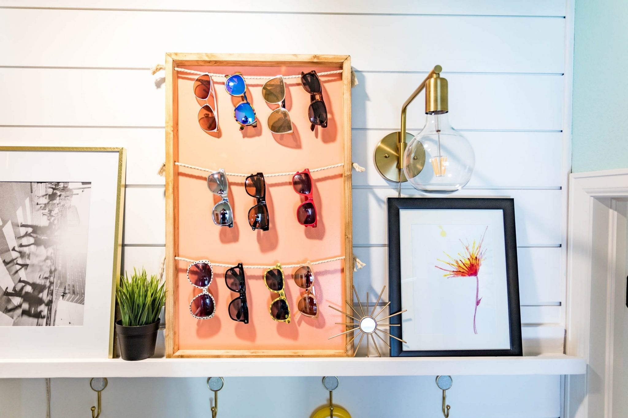 THIS IS GENIUS!! sunglasses holder diy | sunglasses holder diy display | sunglasses holder wall | sunglasses holder wall storage ideas | diy sunglass display | siy sunglass holder | home decor | DIY Home decor ideas | Never Skip Brunch by Cara Newhart | #decor #diy #summer #neverskipbrunch