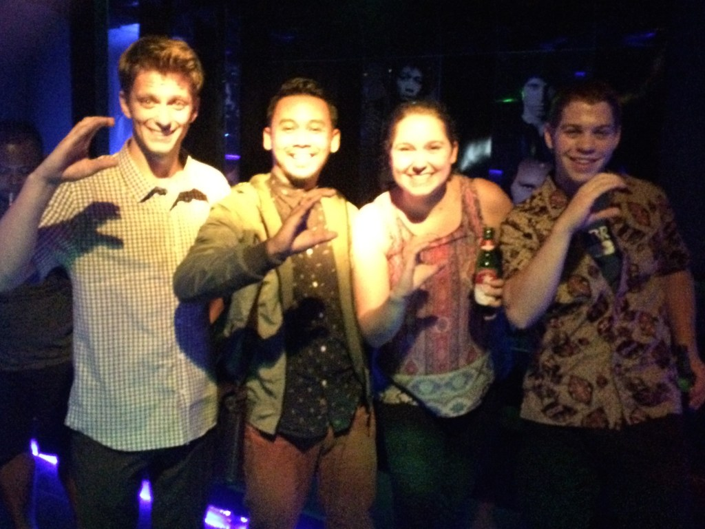 Karaoke and beverages with C Squad - what we affectionately named our class. Jared, Moko, Me, and Stephen.