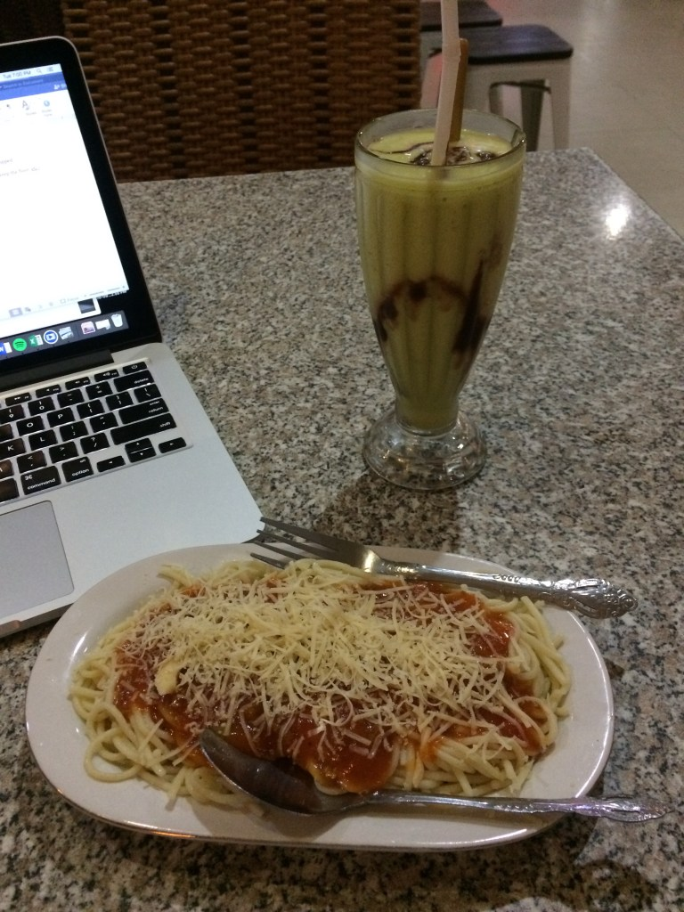 Passable spaghetti and delicious avocado juice