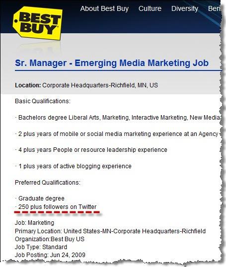 Job Requirement Twitter Followers • NevilleHobson Com
