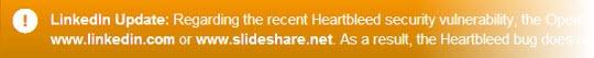LinkedIn Heartbleed banner