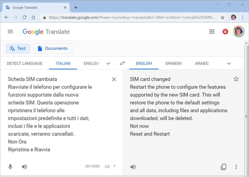 Galaxy S8 Italian translate