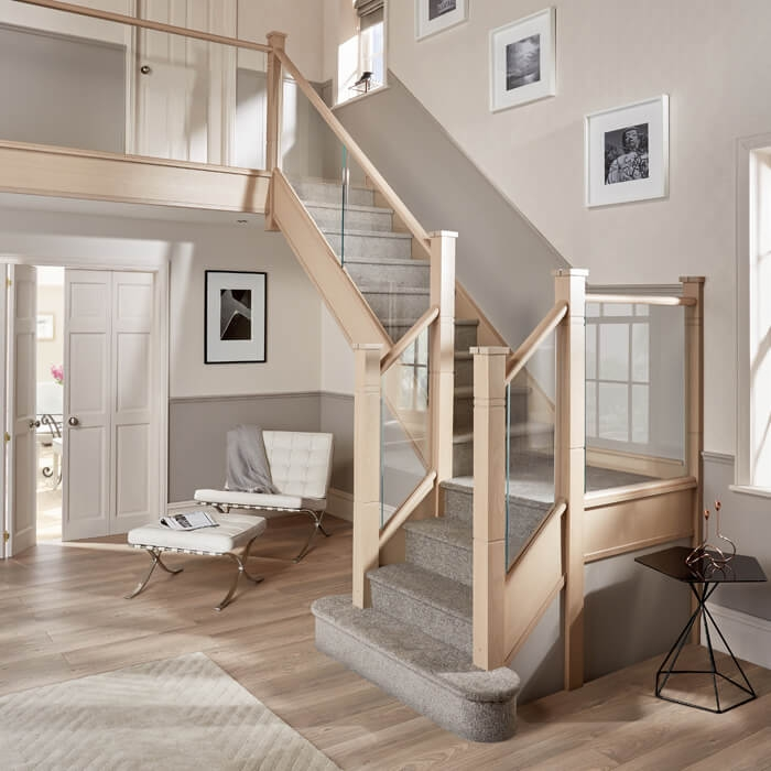 Glass Staircases Glass Banisters Glass Railings Neville Johnson   Modern Glass Staircase Design   Half Wall Glass   Marble Floor Glass   Modern Style   Stainless Steel   Stair Case