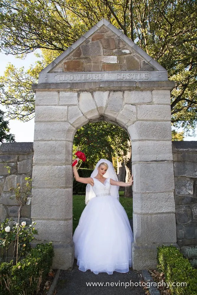 Bride at the gate in Clontarf Castle Wedding