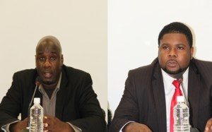 (l-r)Senior Minister of Physical Planning and the Environment in the Nevis Island Administration Hon. Alexis Jeffers and Junior Minister of Physical Planning and the Environment in the Nevis Island Administration Hon. Uthant Troy Liburd