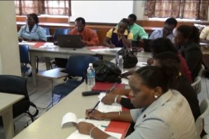 A section of the participants at the Department of Education Nevis Teacher Appraisal Training Workshopfor Education Officials and Principals at the Red Cross conference room