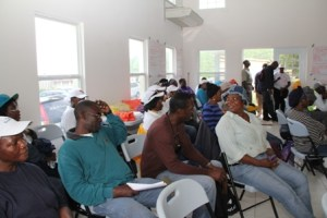 A section of the Community Disaster Response Team members assemble at the Franklyn Browne Community Centre at Combermere on May 27, 2013, at the end of the one-day disaster simulation exercise