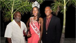 """Premier of Nevis Hon. Vance Amory (r) with Culturama 2013 Patron Mt. Basil """"Bam"""" Manners (l) and reigning Culturama Queen Ms. Denesia Smithen"""