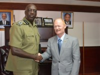 Commissioner Walwyn greets Gary Bennett of ICITAP. photo courtesy the RSCNPF