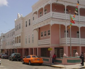 Government Headquarters in Basseterre houses many government offices including the Office of the Prime Minister as well as the National Assembly Chambers