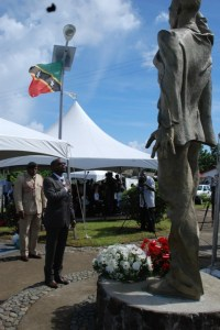 St. Kitts and Nevis' Prime Minister the Rt. Hon. Dr. Denzil Llewellyn Douglas pays homage to First National Hero the Rt. Excellent Sir Robert Llewellyn Bradshaw at the Robert L. Bradshaw Memorial Park