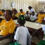 Senior citizens and students of the St. Thomas Primary School participating in the first Inter-generational Exchange programme