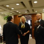 International Monetary Fund Managing Director, Christine Lagarde (2nd from left) receives The Commonwealth High Level Advocacy Mission on Small States' Debt at her office in Washington DC on 7 October 2013. Extreme right is the Right Hon. Dr. Denzil L. Douglas, Prime Minister of St. Kitts and Nevis and Mission leader. Next to him is Commonwealth Secretary-General His Excellency Kamalesh Sharma.
