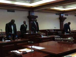 Opposition standing for the two-minute prayers