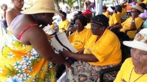 Junior Minister responsible for the care of seniors on Nevis Hon. Hazel Brandy-Williams (extreme left) interacts with seniors at a picnic at Oualie Beach (file photo)