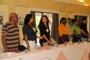 Participants at a five-day Marketing Techniques for Small Hotels Workshop at the Mount Nevis Hotel on November 04, 2013, sponsored by the Caribbean Development Bank and the Caribbean Technological Consultancy Services in collaboration with the Nevis Island Administration's Ministry of Tourism through the Small Enterprise Development Unit