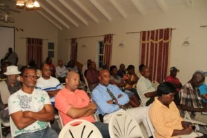 A section of Nevisians at the town hall meeting hosted by the Nevis Island Administration at the Red Cross conference room on November 07, 2013