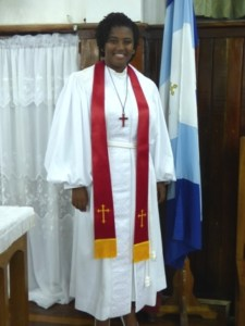 Reverend Amica Liburd moments after she was ordained at the Kingston Methodist Church in Georgetown Guyana on December 08, 2013(Photo by Laurence Richards)