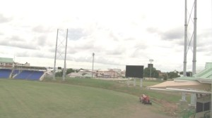 Lighting poles and new jumbotron at Warner Park Cricket Stadium