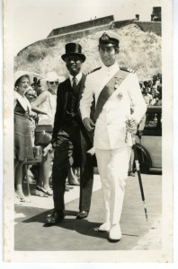 Photo 3. St. Kitts and Nevis' First National Hero and First Premier, the Rt. Excellent Sir Robert L. Bradshaw (in black top hat) escorts His Royal Highness Prince Charles (photo courtesy of the National Archives.