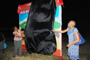 Minister Liburd (right) and Director of Community Affairs Ms Azilah Clarke unveil the Family Park design billboard