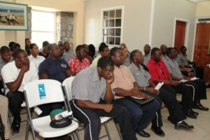 A section of Police Officers stationed on Nevis in attendance at the Royal St. Christopher and Nevis Police Force, Nevis Division's annual New Year Programme, at the Charlestown Police Station's recreational room on January 06, 2014