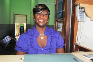 PEP worker manning the security desk at the Lozack Road entrance of the Police Headquarters' building, Ms Sandra Stevens.