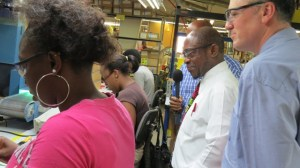 St. Kitts and Nevis' Prime Minister the Right Hon. Dr. Denzil L. Douglas on a tour of the Harowe Servo Plant in Sandy Point, St. Kitts. (Photos by Junique Eddy)