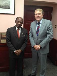 St. Kitts and Nevis Prime Minister the Right Hon. Dr. Denzil L. Douglas (left) and Australia's High Commissioner, His Excellency Ross William Tysoe