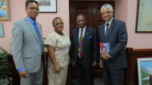 (left to right) - Mr. Archibald Campbell, University Bursar/Chief Financial Officer;  Professor Hazel Simmons McDonald, Pro Vice Chancellor & Principal of the Open Campus; St. Kitts and Nevis' Prime Minister the Right Hon. Dr. Denzil L. Douglas and UWI Pro-Vice Chancellor, Mr. E. Nigel Harris.